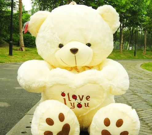 45cm 2 Color white Teddy Bear Lovers Big bear Arms Stuffed Animals Toys Plush Doll ' I LOVE YOU ' bear Valentines Cute Gift(China (Mainland))