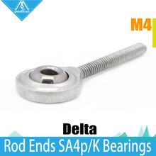 NEW 12pcs Kossel Mini Rostock Robot Delta 3D Printer Rod Ends Self-lubricating Rod Ends SA4P/K Bearings Spherical Plain Bearings