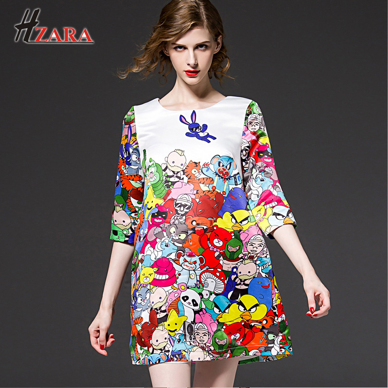 New Lady Elegant Cartoon Print Summer A line Dress High-end Quality Original Designer Cute lively dress Homecoming Part Dress(China (Mainland))
