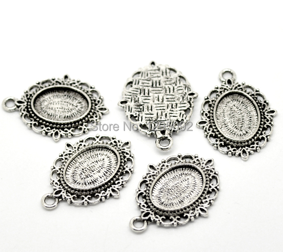 250Pcs Wholesale Oval Charms Pendants Cameo Settings Connector Antique Silver Tone 36x27mm Fit Cabochon 18x13mm<br><br>Aliexpress