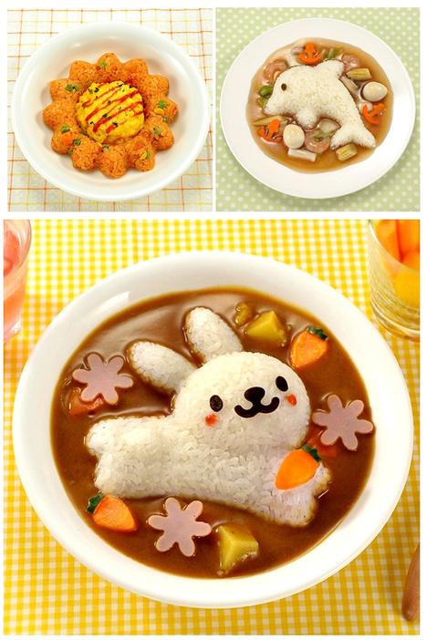 Dolphins rabbit rice mold set 4 pieces(China (Mainland))