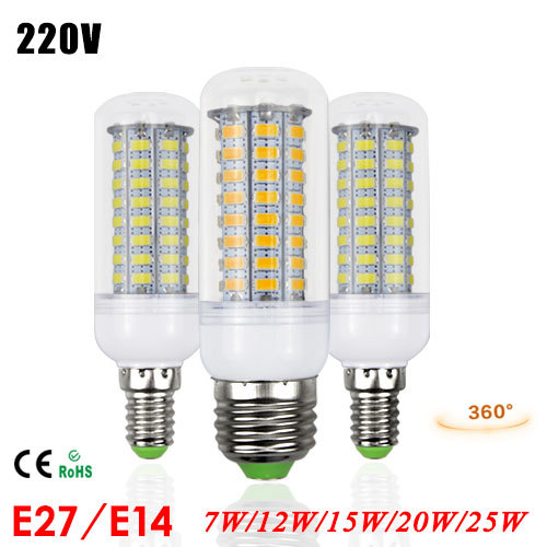 1 x 3W 5W 7W 12W 15W 20W 25W E27 E14 LED lamp High Luminous 5730SMD Corn LEDs light Bulb 220V Chandelier lantern Solar Spotlight(China (Mainland))