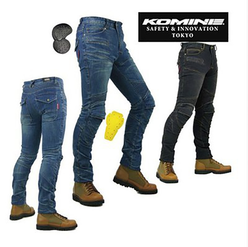 KOMINE PK-718 motorcycle men pants/off-road women trousers/outdoor men jeans/cycling have pads pants