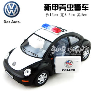 Soft world 911 vw beetle police car double door toy car(China (Mainland))