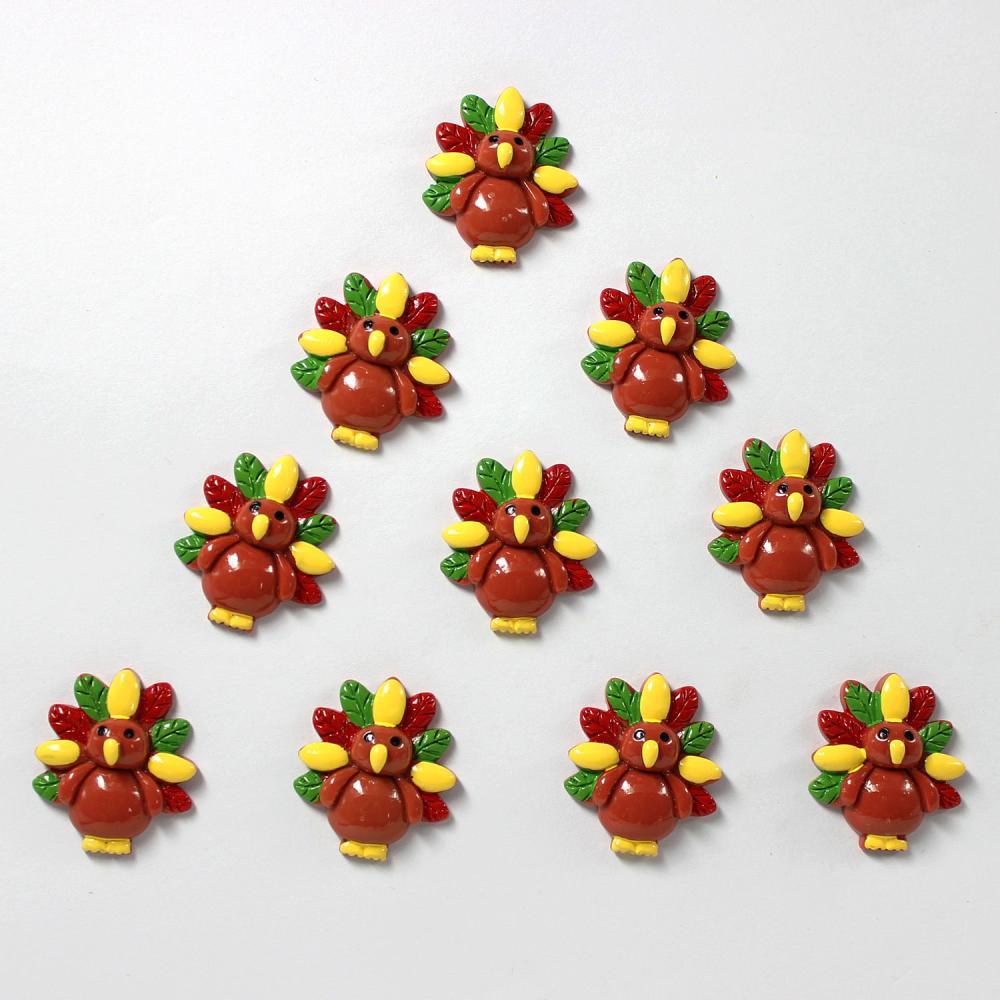 10pcs Turkey for Thanksgiving Resin Cabochons Flatbacks Flat Back Girl Hair Bow Center Cell Phone Crafts RE-233(China (Mainland))