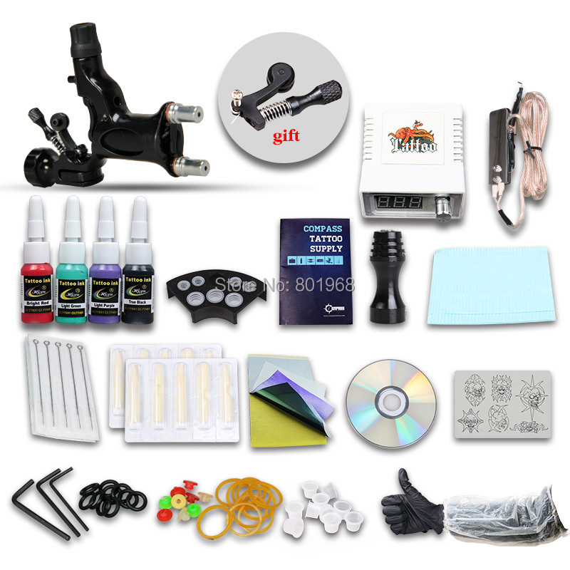 Beginner Tattoo Kit set 1 rotary tattoo Machine Professional Tattoo kit(China (Mainland))
