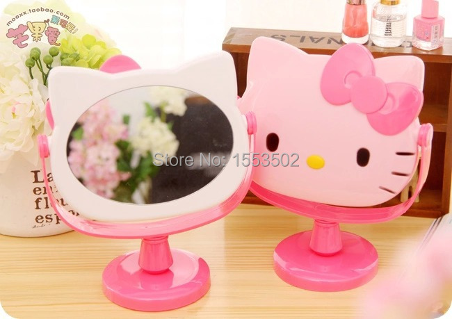 Cute Makeup Mirror Desktop vanity Mirror sub-mirror elevated station rotary table Hello Kitty mirrors FreeS(China (Mainland))