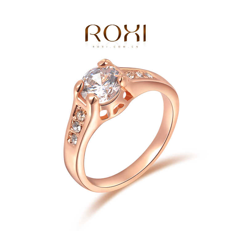 1PCS Free Shipping! Fashion Crystal Ring with Austrian Crystal Rose Gold Plated Wedding Jewelry(China (Mainland))