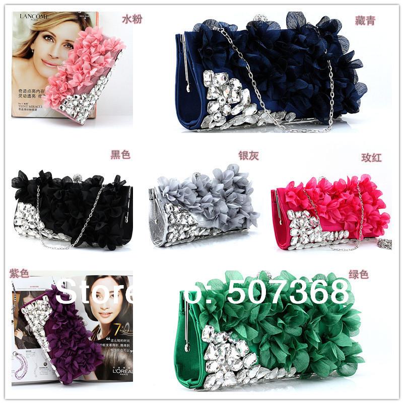 Hot Style Women's Flower Petal Evening Bags Shining Acrylic Clutch Bags with Chain Wedding Handbag Satin Purse 10 Color NO152(China (Mainland))