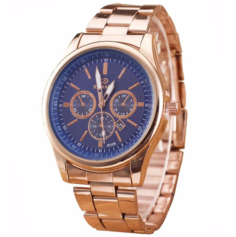 New Fashion Watch Men Luxury Golden Steel Band Complete Calendar Quartz Wristwatch High Quality Elegant Three Eyes Clock Relogio<br><br>Aliexpress