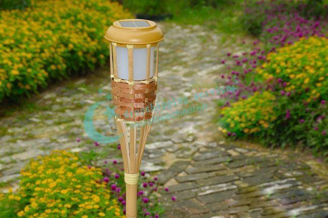 solar outdoor 2led bamboo torches courtyard garden energy saving light