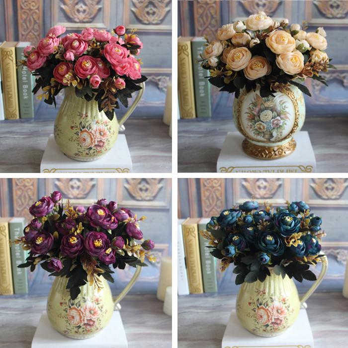 New Hot Vivid 6 Branches Autumn Artificial Fake Peony Flower Posy Home Hotel Room Bridal Wedding Hydrangea Decor Wu Summer Style(China (Mainland))