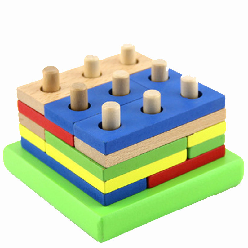 Wooden geometric shapes intellectual building blocks assembled combination of children's educational toys shape matching(China (Mainland))
