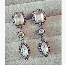 Star Jewerly 2015 New Fashion Earring Luxury Vintage Big Crystal Stone Water Drop Long Earrings For Woman(China (Mainland))