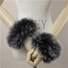 Real Genuine high quality raccoon fox fur cuffs cuff(China (Mainland))