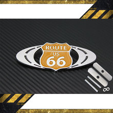 Car Styling 3D Metal Route US 66 Car Front Grille Sticker Emblem Badge For Cadillac Ford Chevrolet Dodge Buick Jeep Shelby Tesla(China (Mainland))