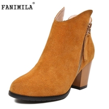Brand New Women Real Genuine Leather Half Boots Female Fashion Square Heel Zipper Shoes Woman Botas Footwear Size 33-43 - Shop1267192 Store store
