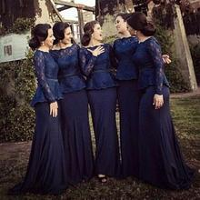 Hot 2015 Lace Bridesmaid Dresses Bateau Long Sleeves Mermaid Floor Length Navy Blue Elegant Plus Size Maid of honor Prom Gown(China (Mainland))