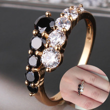New Fashion Gift Jewelry 2015 18K Gold Filled Rings White & Black Engagement Wedding Rings For Women Jewellry Bague Femme R110(China (Mainland))