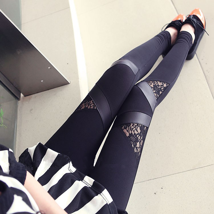 2016 Spring Autumn Leather workout Leggings Hot Charming Warm Cheap Lace legins Sexy PU Leggins Skinny Stretch Splicing Pants