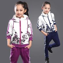 Kids Tracksuit For Girls Age 6-14 Floral Zipper Kids Hoodies+Pants Girls Sport Suit 2015 Winter Girls Clothes