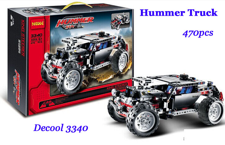 Baby Toys Decool 3340 High Tech Series Transport New Hummer SUV Model kits blocks 470pcs Truck Dune Buggy Building block sets(China (Mainland))