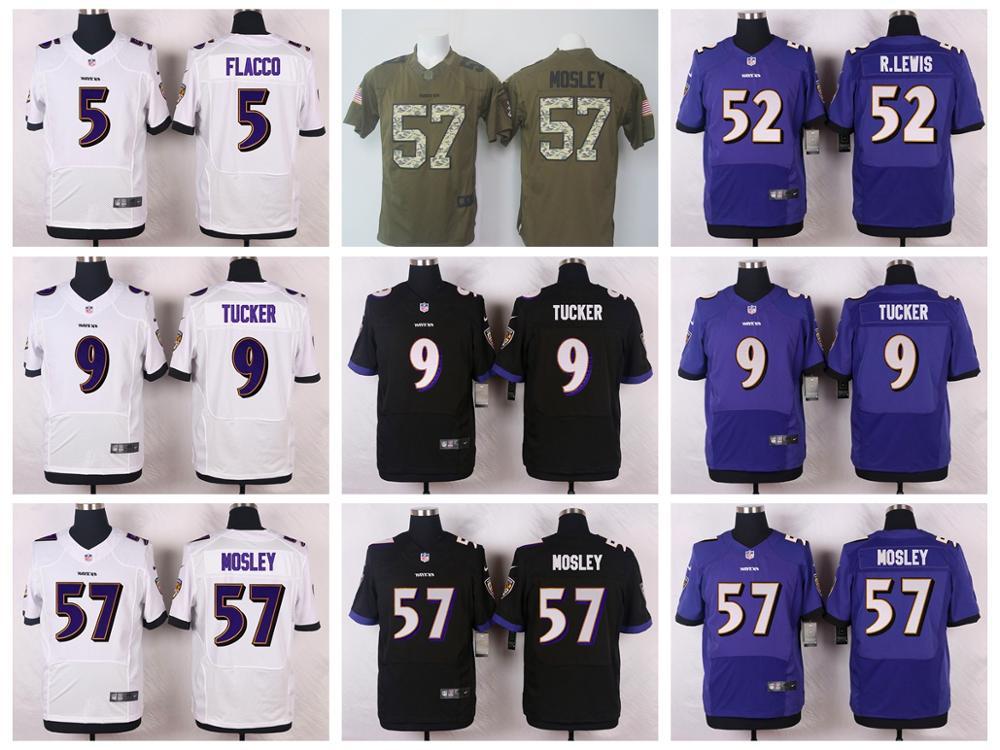 2016 Men 100% stitched logo Baltimore Ravens #9 Justin Tucker #5 Joe Flacco #57 C.J. Mosley #89 Smith_Sr Purple Black White,(China (Mainland))