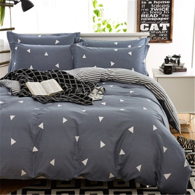 Modern Style Grey Design Bedding set 4PCS 100% Cotton Bed Duvet Cover Set For Adult Queen Size Duvet Cover B(China (Mainland))