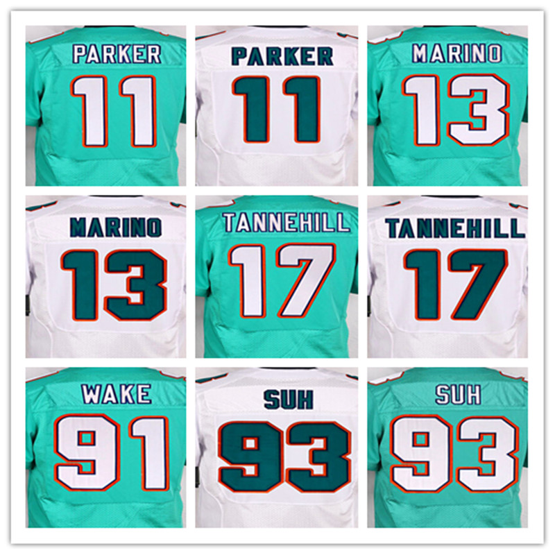 Best quality jersey,Men's 11 Mike Wallace 13 Dan Marino 17 Ryan Tannehill 93 Ndamukong Suh elite jersey,White and Blue,M-XXXL(China (Mainland))