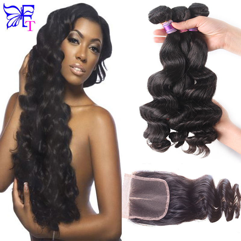 7A Peruvian Loose Wave With Closure Peruvian Virgin Hair With Closure 3 Bundles With Closure Cheap Virgin Hair With Lace Closure