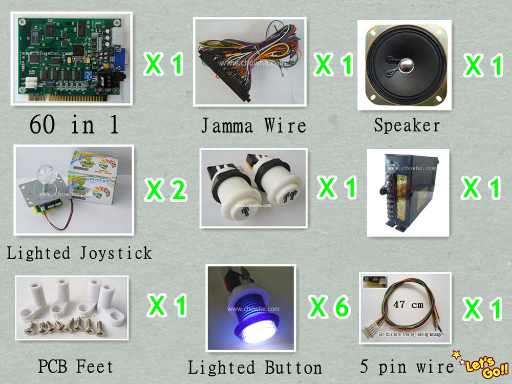 1 kit for 60 in 1 arcade multi game board, lighted button, 7 color changing lighted joystick, power supply, pcb feet, speaker<br><br>Aliexpress