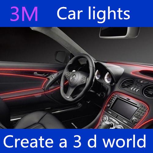 Freeshipping 3mEL decorative strip light car interior lights ambient lighting retrofit body trim interior led cold light<br><br>Aliexpress