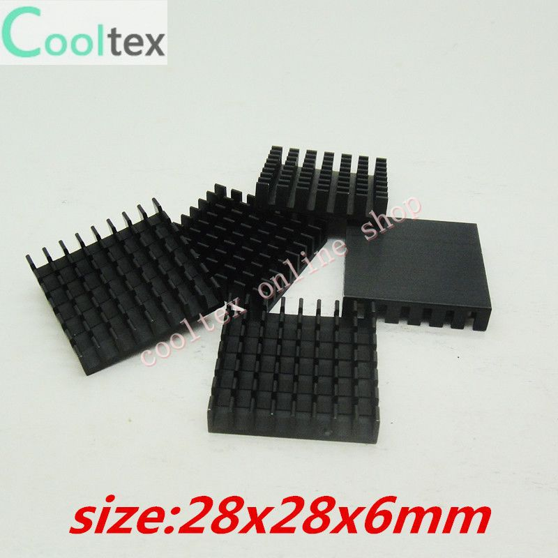 100pcs  Extruded Aluminum heatsink 28x28x6mm, Chip/CPU /GPU/ VGA /LED /IC heat sink,radiator,COOLER