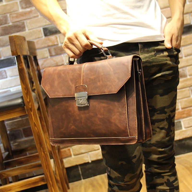 new fashion brand Leather+pu Men's Briefcase bag, Business Handbag, Men Messenger Bag, men's travel bag(China (Mainland))