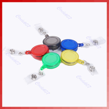 J34 Free Shipping 10pcs/lot Retractable ID Card Badge Holder Reels with Clip(China (Mainland))