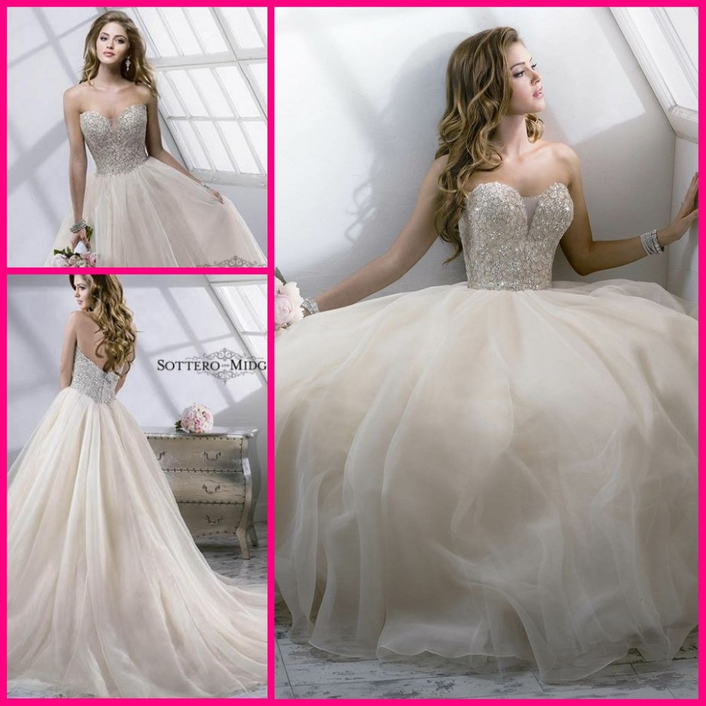 Elegant 2015 designer beading crystal ball gown wedding for Elegant ball gown wedding dresses