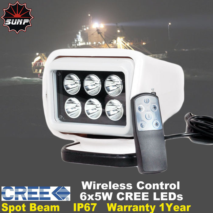 CREE 30W Wireless Remote Control Portable led spot search light white housing used for Off road Vehicle Boat Yacht  12V 24V