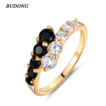 New Fashion 2016 Finger Midi Ring for Women Gold Plated Rings White & Black Engagement Wedding Rings CZ Zircon Jewelry R110(China (Mainland))