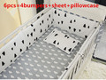 Promotion 6PCS 100 cotton baby bedding set sheets super soft infant cot sheets include bumpers sheet