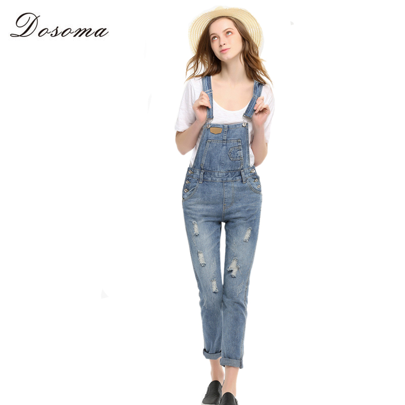 Denim Bodysuit 2016 European Style Vintage Womens Denim Jumpsuit Fashion Ripped Blue Jeans