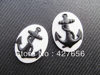 28.97mmx37.96mm Oval Flatback White/Black Resin Caved Anchor Cameo Charm Finding,Cabochon for Base setting Tray,DIY Accessry