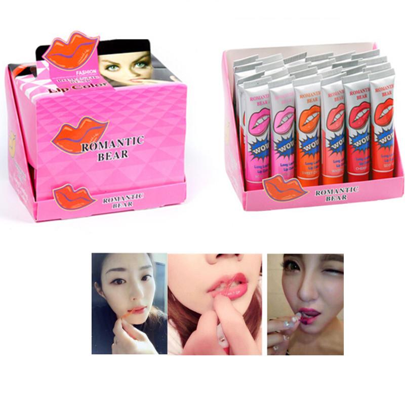 6PCS/lot Lipstick Maquiagem Makeup Maquillaje Batom Mate Matte Lipstick Labiales Lip Gloss Baton Lip Tint Brand Romantic Bear<br><br>Aliexpress