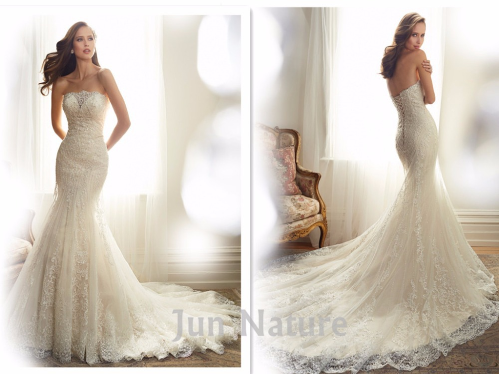 Real picture elegant chapel train strapless lace open back for Mermaid wedding dress with train