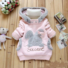 Retail!New 2014 Children Clothing Cartoon Rabbit Fleece Outerwear girl fashion clothes/ hoodies jacket,Children's hooded coat(China (Mainland))
