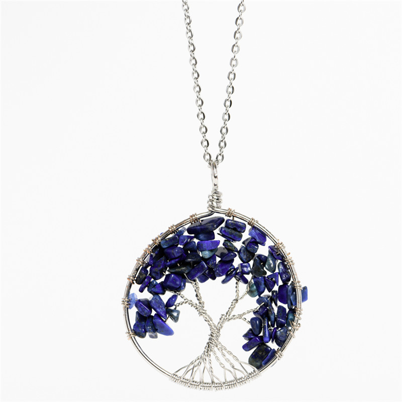 New Round Tree Of Life Pendant Necklace Chip Pink Crystal Natural Stone Necklaces Stainless Steel Chain Women Jewelry(China (Mainland))