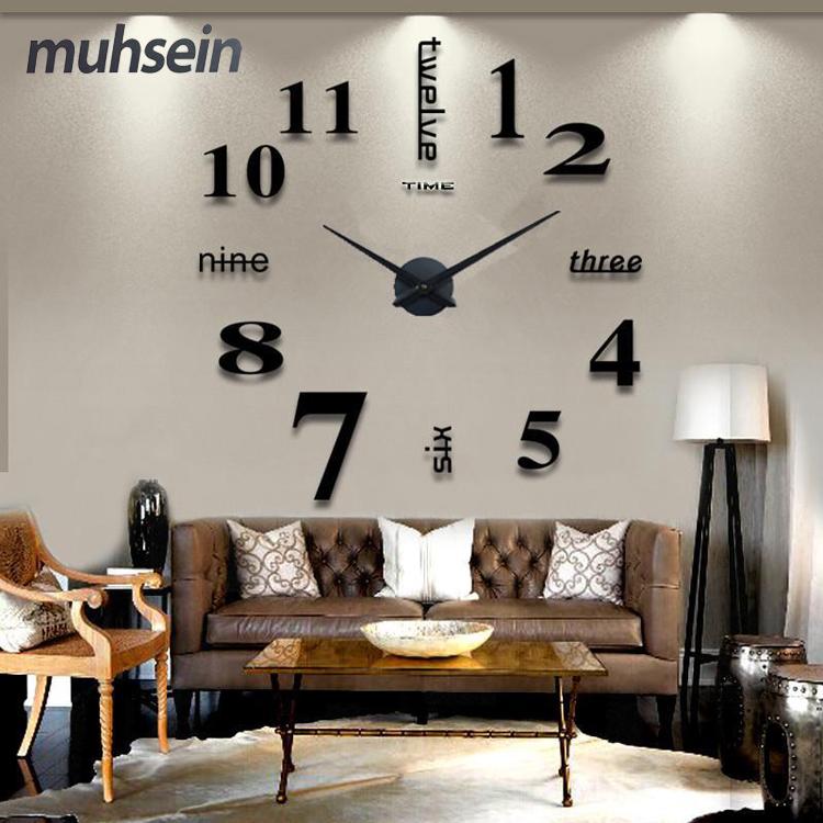 Diy wall clock wall clock personality gradient digital wall clock ultralarge measurement fashion wall clock