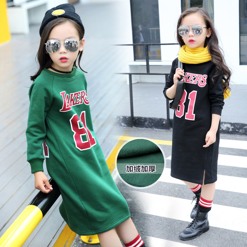 5 6 7 8 9 10 11 12 13 13 15 16 Years Casual Dress For Girls Teenagers Baby Girl Long Sleeve Letter Elegant Dresses For Girls(China (Mainland))