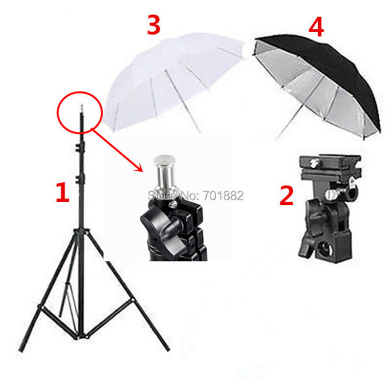 4in1 Photo Studio Light Stand Tripod + Flash Bracket B Mount + 33 inch Black Reflective Umbrella + 33 inch White Soft Umbrella(China (Mainland))