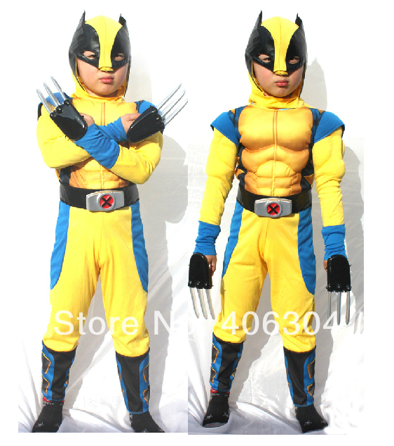 ,children Avengers Wolverin costume movie charater halloween muscle kid ,4-12years old,3 sizes - HH Party Costume Store store