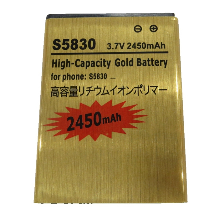 2450mAh Gold battery Replacement EB494358VU For SAMSUNG Galaxy Ace S5830 Galaxy S Mini B7510 B7800 Batterie Batteries Bateria(China (Mainland))